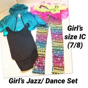 Girl's Jazz/Tap/ Dance 3-piece Set, size IC (7/8)